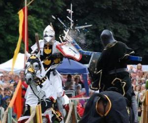 Rompicapo di Due cavalieri a cavallo che partecipano a un torneo