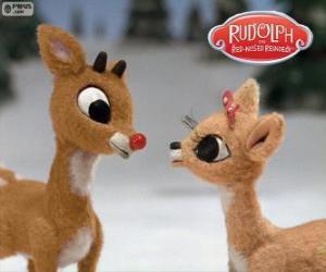 Rompicapo di Due giovani renne Rudolph e Fireball