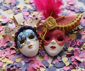 Rompicapo di Due maschere e coriandoli