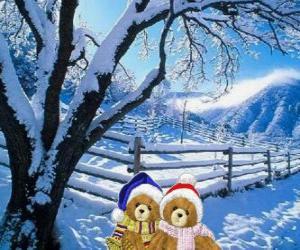 Rompicapo di due orsi molto caldo in un paesaggio di Natale
