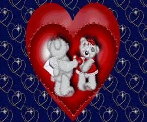 Rompicapo di Due orsi nell'amore con cuori