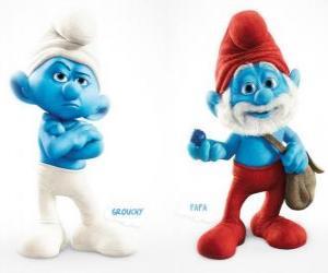 Rompicapo di Due personaggi del film I Puffi - Brontolone e Grande Puffo -