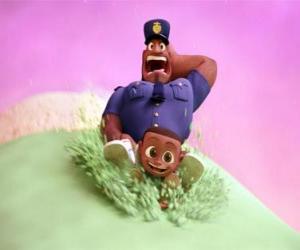 Rompicapo di Earl Devereaux, il poliziotto e il suo Cal figlio su una pallina di gelato