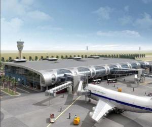 Rompicapo di Edificio di terminal aeroportuale congli aeromobili