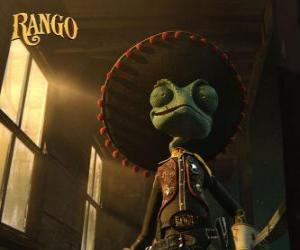 Rompicapo di El camaleó Rango creu que és un heroi i s'autoproclama xèrif de Dirt