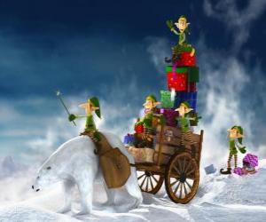 Rompicapo di Elfi aiuta Babbo Natale consegna i regali di Natale