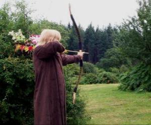 Rompicapo di Elfo cacciatore armato di arco e freccia pronto a sparare