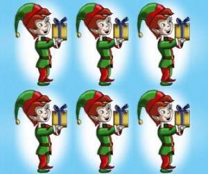 Rompicapo di Elfo di Natale che trasporta un regalo