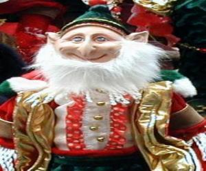 Rompicapo di Elfo di Natale con le orecchie a punta e cappello a punta