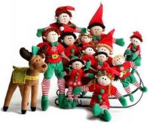 Rompicapo di Famiglia di elfi con il suo renna
