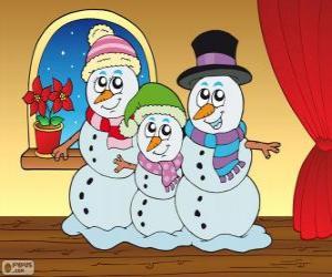 Rompicapo di Famiglia di pupazzi di neve