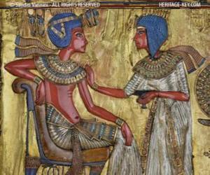 Rompicapo di Faraone seduto sul suo trono con uno scettro nejej, in forma di una frusta, in mano