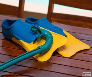 Rompicapo di Fare snorkeling e scuba pinne