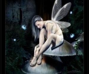Rompicapo di Fata seduta su un fungo