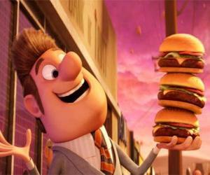 Rompicapo di Felice sindaco con tre hamburger in mano