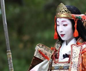 Rompicapo di Femmina samurai, la donna guerriero con katana