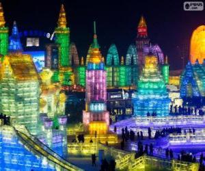 Rompicapo di Festival delle sculture di ghiaccio e neve di Harbin, Cina