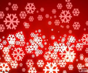 Rompicapo di Fiocchi di neve sfondo rosso