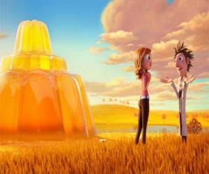 Rompicapo di Flint e Sam di fronte a un enorme flan di gelatina