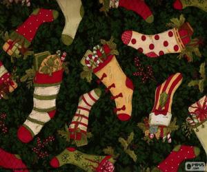 Rompicapo di foto di calze di Natale e stivali