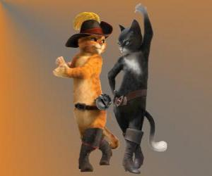 Rompicapo di Gatto con gli stivali a ballare con la gatta Kitty