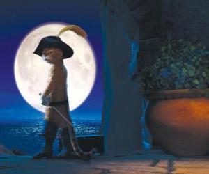 Rompicapo di Gatto con gli stivali in una notte di luna