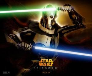 Rompicapo di Generale Grievous si tratta di un temibile e potente cyborg che ha dedicato la sua vita alla distruzione della Repubblica e lo sterminio dei Cavalieri Jedi.