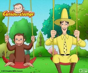 Rompicapo di George la scimmia con il suo amico Ted, l'uomo in cappello giallo