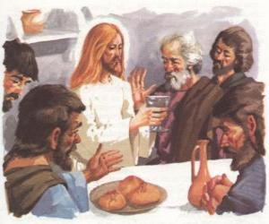 Rompicapo di Gesù benedetto il Pane e il Vino durante l'Ultima Cena
