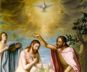 Rompicapo di Gesù è battezzato per Giovanni Battista nel fiume Giordano
