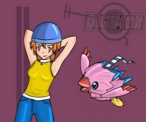 Rompicapo di giocare con Sora digimon Biyomon lei. Sora Takenouchi è la più responsabile e matura del gruppo