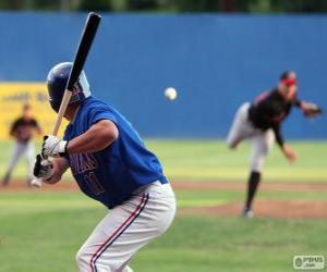 Rompicapo di giocatore professionista di baseball, il battitore con la mazzaa tenuto alta