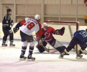 Rompicapo di Giocatori e portiere di hockey su ghiaccio in una partita
