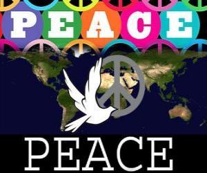 Rompicapo di Giornata Internazionale della Pace. Giornata Mondiale della Pace. 21 settembre è dedicata alla pace e l'assenza di guerra