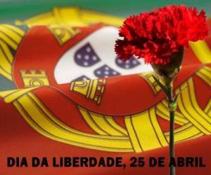 Rompicapo di Giorno della Libertà, 25 aprile, festa nazionale del Portogallo, per commemorare la rivoluzione dei garofani del 1974