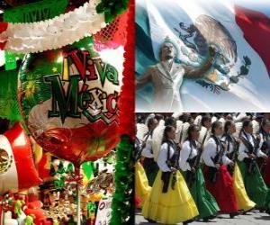 Rompicapo di Giorno dell'Indipendenza del Messico. Commemora il 16 Settembre 1810, l'inizio della lotta contro il dominio spagnolo
