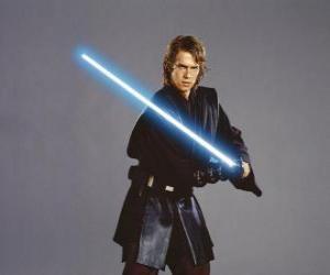 Rompicapo di Giovane Anakin Skywalker con la sua spada laser