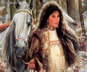 Rompicapo di Giovane india con il suo cavallo