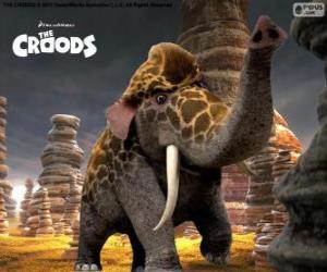 Rompicapo di Girelephant di I Croods, un incrocio tra una giraffa e un elefante