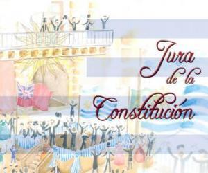 Rompicapo di Giura della Costituzione dell'Uruguay. Ogni 18 luglio si celebra il giuramento della prima costituzione nazionale del 1830