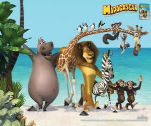 Rompicapo di Gloria l'ippopotamo, Melman la giraffa, Alex il leone, Marty la zebra con gli altri protagonisti delle avventure