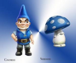 Rompicapo di Gnomeo è una bella e orgogliosa Blue Garden Gnome, insieme con la sua leale e fedele compagno di gesso Mushroom Shroom