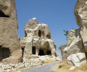 Rompicapo di Göreme National Park e siti grotta in Cappadocia, Turchia.