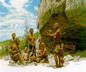 Rompicapo di Gruppo di uomini di Neandertal sotto la protezione di un riparo roccioso, le persone che svolgono attività diverse: alcuni carving pietre, altri preparano a caccia