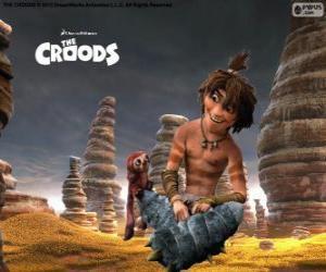 Rompicapo di Guy, un adolescente spiritoso che mostra un nuovo mondo alla famiglia Croods