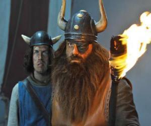 Rompicapo di Halvar, il padre di Vicky e il leader dei Vichinghi nel villaggio di Flake con la benda sull'occhio