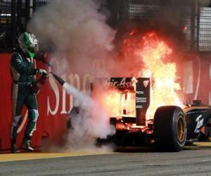 Rompicapo di Heikki Kovalainen - Lotus - Singapore 2010
