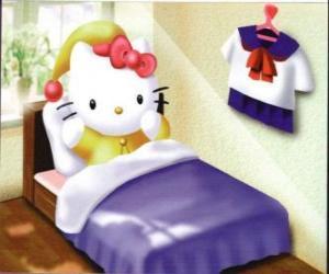 Rompicapo di Hello Kitty a letto