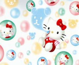 Rompicapo di Hello Kitty che gioca a fare bolle di sapone