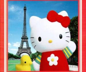 Rompicapo di Hello Kitty con uccelli e la Torre Eiffel sfondo
